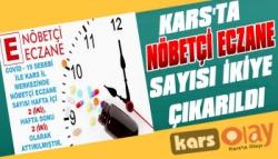 Kars'ta Nöbetçi Eczane Sayısı 2'ye Çıkarıldı